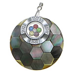 Pendants Natyrore Zi Shell, Black Shell, with Tunxh, Round Flat, ngjyrë platin praruar, me diamant i rremë, asnjë, 40x40x9mm, : 3x5mm, 10PC/Shumë,  Shumë