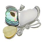 Pendants Shell, Shell Guaskë, with Shell Verdha & White Shell & Tunxh, Flutur, ngjyrë platin praruar, me diamant i rremë, asnjë, 38x39x4mm, : 3x4mm, 10PC/Shumë,  Shumë