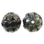 Beads Hollow tunxh, Round, plumbit ngjyrë të zezë praruar, me diamant i rremë & i uritur, asnjë, , nikel çojë \x26amp; kadmium falas, 10mm, : 1mm, 100PC/Qese,  Qese