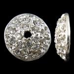 Alloy zink Bead Cap, Round Flat, Ngjyra argjend praruar, me diamant i rremë, asnjë, , nikel çojë \x26amp; kadmium falas, 16x4.5mm, : 2mm, 10PC/Qese,  Qese