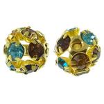 Beads bizhuteri bronzi, Tunxh, Round, ngjyrë ari praruar, me një diamant i rremë klasën & i uritur, asnjë, , nikel çojë \x26amp; kadmium falas, 10mm, : 1mm, 10PC/Qese,  Qese