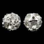 Beads bizhuteri bronzi, Tunxh, Round, Ngjyra argjend praruar, me diamant i rremë & i uritur, asnjë, , nikel çojë \x26amp; kadmium falas, 12mm, : 1mm, 10PC/Qese,  Qese