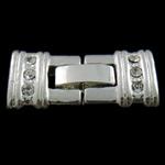 Zink Alloy bizhuteri kapje, Alloy zink, Drejtkëndësh, Ngjyra argjend praruar, 3-fije floku & me diamant i rremë, asnjë, , nikel çojë \x26amp; kadmium falas, 12x25x4mm, : 1mm, 10PC/Qese,  Qese