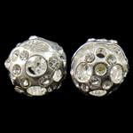 Beads Hollow tunxh, Round, Ngjyra argjend praruar, me diamant i rremë & i uritur, asnjë, , nikel çojë \x26amp; kadmium falas, 10mm, : 2.5mm, 10PC/Qese,  Qese