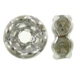 Ndarësit diamant i rremë, Tunxh, Petull e ëmbël në formë gjevreku, Ngjyra argjend praruar, me diamant i rremë, asnjë, , nikel çojë \x26amp; kadmium falas, 6x3mm, : 1.5mm, 100PC/Qese,  Qese