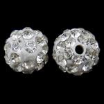 Diamant i rremë balta Beads hapë, Argjilë, Round, asnjë, me diamant i rremë, e bardhë, 10mm, : 1.5mm, 10PC/Qese,  Qese
