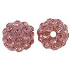 Diamant i rremë balta Beads hapë, Argjilë, Round, asnjë, me diamant i rremë, rozë, 10mm, : 1.5mm, 10PC/Qese,  Qese