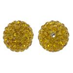 Diamant i rremë balta Beads hapë, Argjilë, Round, asnjë, me diamant i rremë, i verdhë, 14mm, : 1.5mm, 10PC/Qese,  Qese
