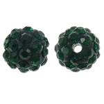 Diamant i rremë balta Beads hapë, Argjilë, Round, asnjë, me diamant i rremë, e gjelbër, 10mm, : 1.5mm, 10PC/Qese,  Qese