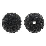 Diamant i rremë balta Beads hapë, Argjilë, Round, asnjë, me diamant i rremë, e zezë, 14mm, : 1.5mm, 10PC/Qese,  Qese