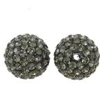 Diamant i rremë balta Beads hapë, Argjilë, Round, asnjë, me diamant i rremë, gri, 14mm, : 1.5mm, 10PC/Qese,  Qese