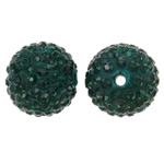 Diamant i rremë balta Beads hapë, Argjilë, Round, asnjë, me diamant i rremë, jeshile të thellë, 14mm, : 1.5mm, 10PC/Qese,  Qese