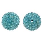 Diamant i rremë balta Beads hapë, Argjilë, Round, asnjë, me diamant i rremë, dritë blu, 14mm, : 1.5mm, 10PC/Qese,  Qese