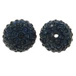 Diamant i rremë balta Beads hapë, Argjilë, Round, asnjë, me diamant i rremë, blu e zezë, 14mm, : 1.5mm, 10PC/Qese,  Qese