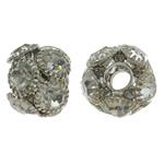 Beads bizhuteri bronzi, Tunxh, Daulle, ngjyrë platin praruar, me një diamant i rremë klasën, asnjë, , nikel çojë \x26amp; kadmium falas, 15x13mm, : 4mm, 10PC/Qese,  Qese