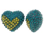Diamant i rremë balta Beads hapë, Argjilë, Zemër, asnjë, me diamant i rremë & gjysmë-shpuar, blu, 17x15x11mm, : 1mm, 10PC/Qese,  Qese