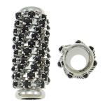 Beads bizhuteri Diamant i rremë, Tunxh, Tub, ngjyrë platin praruar, me diamant i rremë, asnjë, , nikel çojë \x26amp; kadmium falas, 10x25mm, : 5.5mm, 10PC/Qese,  Qese