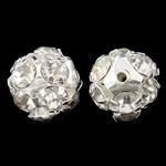 Beads bizhuteri bronzi, Tunxh, Round, Ngjyra argjend praruar, me diamant i rremë & i uritur, asnjë, , nikel çojë \x26amp; kadmium falas, 11mm, : 1mm, 10PC/Qese,  Qese