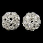 Beads bizhuteri Diamant i rremë, Tunxh, Daulle, Ngjyra argjend praruar, me diamant i rremë & i uritur, asnjë, , nikel çojë \x26amp; kadmium falas, 24x23mm, : 4mm, 2PC/Qese,  Qese