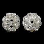 Beads bizhuteri Diamant i rremë, Tunxh, Daulle, Ngjyra argjend praruar, me diamant i rremë & i uritur, asnjë, , nikel çojë \x26amp; kadmium falas, 28x25mm, : 5mm, 10PC/Qese,  Qese