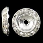 Ndarësit diamant i rremë, Tunxh, Round Flat, Ngjyra argjend praruar, me diamant i rremë, asnjë, , nikel çojë \x26amp; kadmium falas, 13x3mm, : 2mm, 10PC/Qese,  Qese