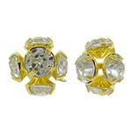 Bizhuteri tunxh Gjetja, Round, ngjyrë ari praruar, me diamant i rremë & i uritur, asnjë, , nikel çojë \x26amp; kadmium falas, 7mm, 100PC/Qese,  Qese