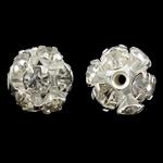 Beads bizhuteri bronzi, Tunxh, Round, Ngjyra argjend praruar, me diamant i rremë & i uritur, asnjë, , nikel çojë \x26amp; kadmium falas, 10mm, : 1.5mm, 10PC/Qese,  Qese