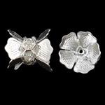 Beads bizhuteri bronzi, Tunxh, Lule, Ngjyra argjend praruar, me diamant i rremë, asnjë, , nikel çojë \x26amp; kadmium falas, 11x12mm, : 1mm, 10PC/Qese,  Qese