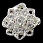 Kutia tunxh kapje, Lule, Ngjyra argjend praruar, me diamant i rremë & vetme-fillesë, asnjë, , nikel çojë \x26amp; kadmium falas, 14x12.50x7mm, : 1mm, 10PC/Qese,  Qese