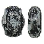 Antique Beads akrilik, Oval, Ngjyra antike argjendi praruar, asnjë, asnjë, 9x12x5mm, : 2mm, 1425PC/Qese,  Qese