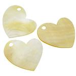 Pendants Natyrore Shell Verdha, Zemra Flat, asnjë, asnjë, asnjë, 35-37x35-37x1-2mm, : 4mm, 30PC/Shumë,  Shumë