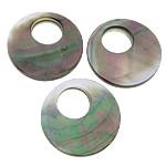 Pendants Natyrore Zi Shell, Black Shell, Round Flat, asnjë, asnjë, asnjë, 33x33x6mm, : 14mm, 30PC/Shumë,  Shumë