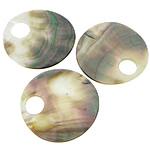 Pendants Natyrore Zi Shell, Black Shell, Round Flat, asnjë, asnjë, asnjë, 49x49x1-2mm, : 12mm, 30PC/Shumë,  Shumë