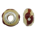 Lampwork Style European, Rondelle, punuar me dorë, core argjendi i pastër me dy pa karrem & me diamant i rremë, asnjë, 15x10mm, : 5mm, 50PC/Qese,  Qese