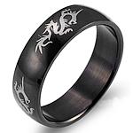 Çeliku Stainless Ring Finger, 316L Stainless Steel, Shape Tjera, Gdhendur, për njeriun, e zezë, 6mm, :5, 3PC/Shumë,  Shumë
