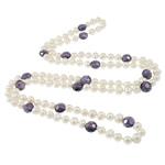 Ujërave të ëmbla Pearl gjerdan Crystal, Pearl kulturuar ujërave të ëmbla, with Kristal, Shape Tjera, natyror, e bardhë, 9-10mm, 12x9mm, :46Inç,  46Inç,