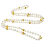 Ujërave të ëmbla Pearl gjerdan Crystal, Pearl kulturuar ujërave të ëmbla, with Kristal, Shape Tjera, natyror, e bardhë, 8-9mm, 9x8mm, :47Inç,  47Inç,