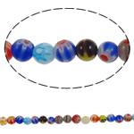 Chevron Glasperlen, rund, handgemacht, gemischte Farben, 6mm, Bohrung:ca. 1mm, Länge:ca. 15 ZollInch, 10SträngeStrang/Menge, verkauft von Menge