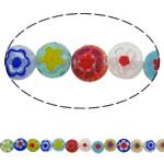 Glass Beads Chevron, Glass Chevron, Round Flat, punuar me dorë, asnjë, ngjyra të përziera, 8x4mm, : 1mm, : 15Inç, 10Fillesat/Shumë, approx 50pcs/strands,  Shumë