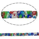 Lampwork Millefiori Fetë Beads, Katror, punuar me dorë, me fetë Millefiori, ngjyra të përziera, 8x4mm, : 1mm, : 15.3Inç, 10Fillesat/Shumë, approx 50pcs/strands,  Shumë