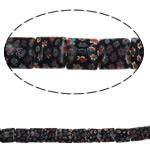 Lampwork Millefiori Fetë Beads, Katror, punuar me dorë, me fetë Millefiori, e zezë, 10x5.5mm, : 1mm, :15Inç, 10Fillesat/Shumë, approx 40pcs/strands,  Shumë