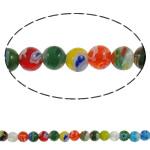 Glass Beads Chevron, Glass Chevron, Round, punuar me dorë, asnjë, ngjyra të përziera, 6mm, : 1mm, : 14.7Inç, 10Fillesat/Shumë, approx 65pcs/strands,  Shumë