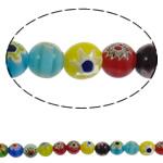 Chevron Glasperlen, rund, handgemacht, gemischte Farben, 10mm, Bohrung:ca. 1mm, Länge:ca. 15.3 ZollInch, 10SträngeStrang/Menge, verkauft von Menge