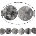 Beads kuarc bizhuteri, Grey kuarc, Round Flat, natyror, asnjë, 25x8mm, : 1.5mm, : 15.6Inç, 5Fillesat/Shumë,  Shumë