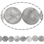Beads kuarc bizhuteri, Grey kuarc, Round Flat, natyror, asnjë, 15x6mm, : 1.5mm, :15.7Inç, 5Fillesat/Shumë,  Shumë