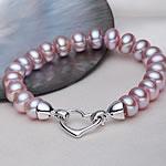 Kulturuar ujërave të ëmbla Pearl byzylyk, Pearl kulturuar ujërave të ëmbla, Shape Tjera, natyror, vjollcë, 9-10mm, :18.5cm,  18.5cm,