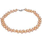 Kulturuar ujërave të ëmbla Pearl byzylyk, Pearl kulturuar ujërave të ëmbla, with Alloy zink, Oriz, natyror, rozë, 6.5-7.5mm, : 15.7Inç,  15.7Inç,