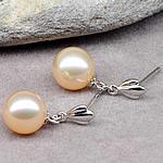 Një palë vathë Pearl ujërave të ëmbla, Pearl kulturuar ujërave të ëmbla, with 925 Sterling Silver, Round, natyror, rozë, 8-9mm,  Palë