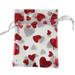Organza Gift Bag, with heart pattern & translucent, red, 16x23cm, Sold By PC