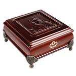 Bizhuteri Wood Set Box, Dru, with Velveteen & Alloy zink, Drejtkëndësh, Ngjyra antike bronz i praruar, asnjë, verë e kuqe ngjyra, 16x16x8cm,  PC
